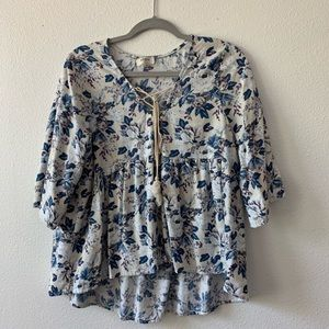 Peplum Floral Top blue, white, and purple